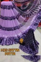 Printed Sattin Patta Saree