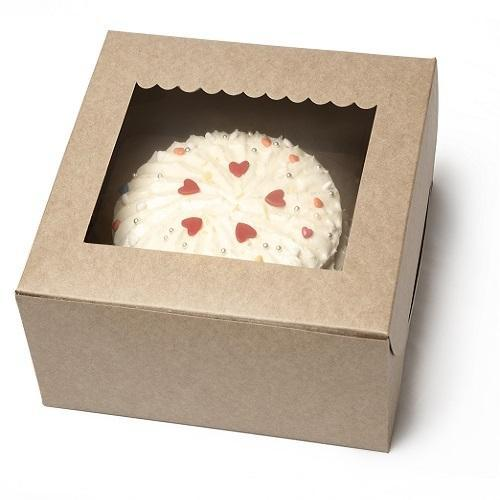 11K One Kg Kraft Cake Box with Scallop Window