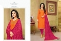 Round Neck Orange Havya Salwar Suit Fabric