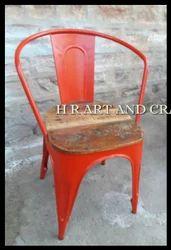 Red Reclaimed Top Metal Chair