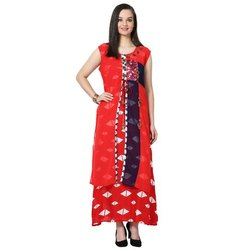 LKAAAF-17E Red Printed Ladies Kurti