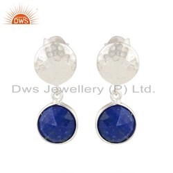 Sterling Fine Silver Lapis Lazuli Gemstone Dangle Earring