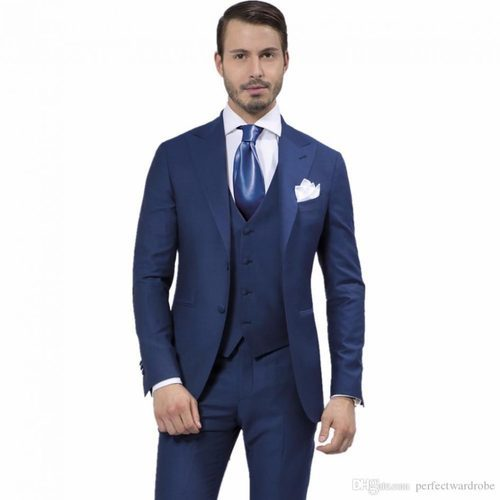 Mens Blue Stylish Wedding Suit
