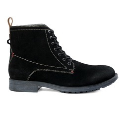 Men's Black Suede Leather Fur Lace-Up Boots On TPR Sole, Size: 40-45