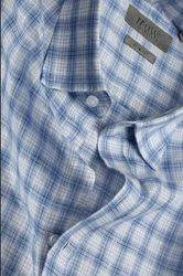 Blue Big Checks Slimfit Short Sleeve Linen Shirt