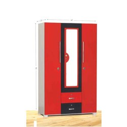 Red and Black Rectangular Wooden Cupboard, Size/Dimension: 21 X 47 X 78 Inch
