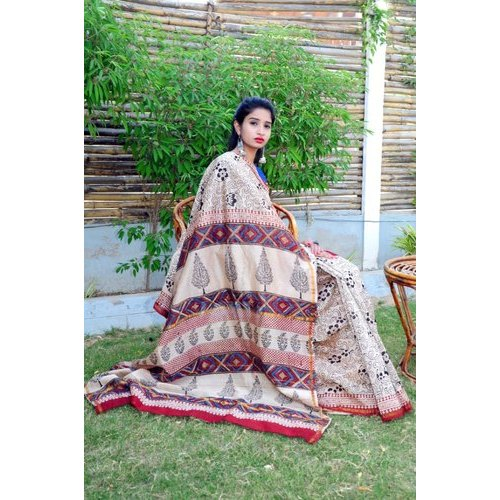 Ladies Fancy Printed Chanderi Silk Saree