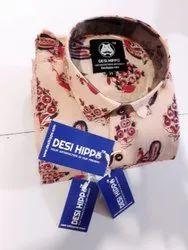 Desi Hippo Full Sleeve Block Printed 100% Cotton Shirts