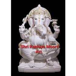 White Marble with gold plated Ganesha Statue