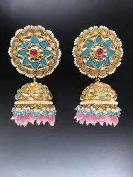 krishna jewels Copper Kundan Earrings