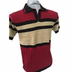 Mens Fancy Cotton Collar Casual Wear T Shirt