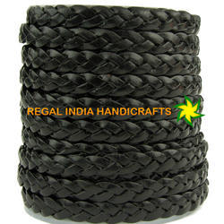 Glossy Black Flat Braided Leather Cord