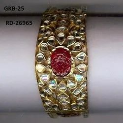 Carving Stone Kundan Meena Polki Ruby Bangle