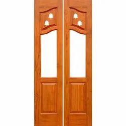 Standard Brown Teak Wood Pooja Room Doors, Size/Dimension: 78x36 Inch, for Home