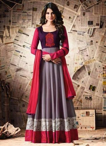 ab8817f137d Heavy Grey And Red Fast Color Anarkali Salwar Suit at Rs 1695 ...