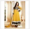 Sonali Bendre Georgette Yellow Semi Stitched  Anarkali Suit