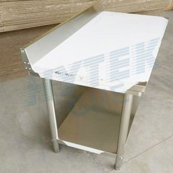 SS304 Two Layer Table With Splash Back