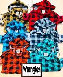 96K Denim Fleece Wash Cotton Check Shirts