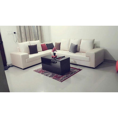 Wood Off White L Shape Sofa Set