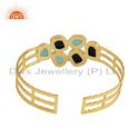 Aqua Chalcedony Lapis Gemstone Gold Plated 925 Silver Cuff Bracelet Jewelry