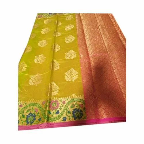 Party Wear Fancy Chanderi Cotton Saree With Blouse Piece
