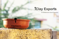 iClay Exports Brown Clay Serving Bowl Flat