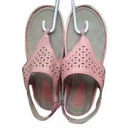 Synthetic Leather Pink Ladies Flat Sandals, For Daily, Size: 4 - 8 UK