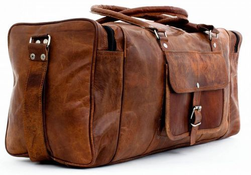 d1cd0ac92e Brown Vintage Genuine Real Leather Goat Travel Duffle Bags