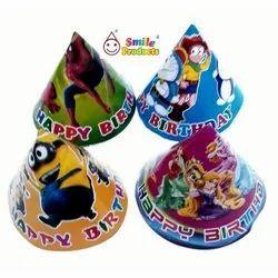 Printed Paper Cone Birthday Cap