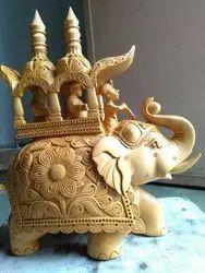 Up Trunk Wooden Ambawadi Elephant Statue