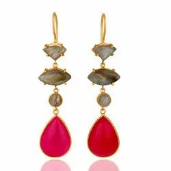 Fuchsia Chalcedony & Labradorite Earrings