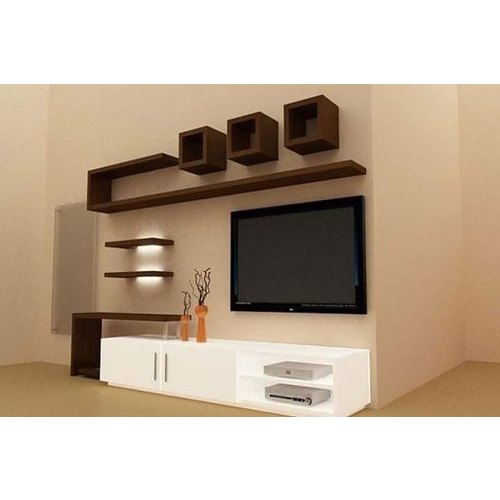 White And Brown Tv Wall Unit