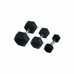 Rubber Coated Hexagon Dumbbells