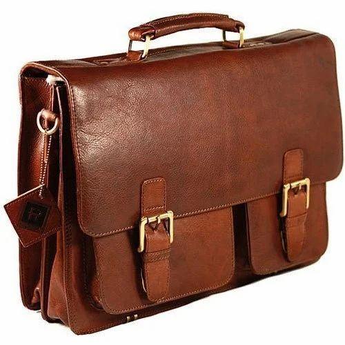 Dark Brown Leather Mens Office Bags