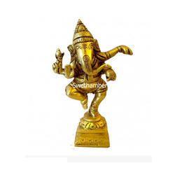 Brass Dancing Ganesha Statue