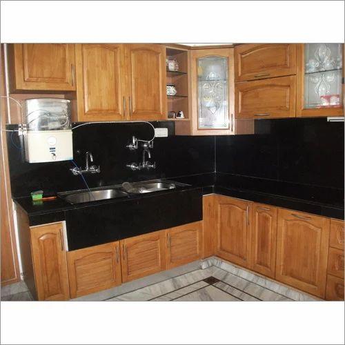 Straight Modular Kitchen 8 Square Modular Kitchens: Rubber Wood Modular Kitchen At Rs 49990 /set