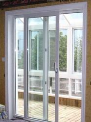 White Toughened Glass UPVC Sliding Door