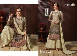 Beige Printed Cotton Unstitched Suit