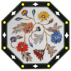 Octagonal Stone Pietra Dura Dining Table Top