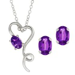 Natural Amethyst Sterling Silver Heart Pendant
