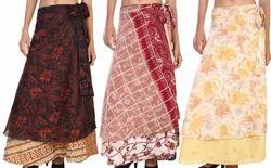 36 Inch Vintage Art Silk Magic Wrap Around Skirt