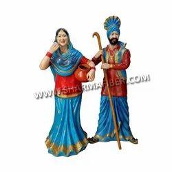Punjabi Mutiyar & Gabhru Fiber Statue for Promotional Use