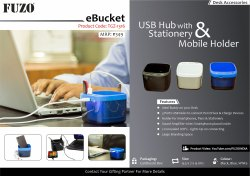 Plastic Black and Blue FUZO eBucket USB Hub with Stationery & Mobile Holder - TGZ-1316