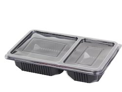 Plastic Disposable Meal Tray Black With Lid 2 Compartment