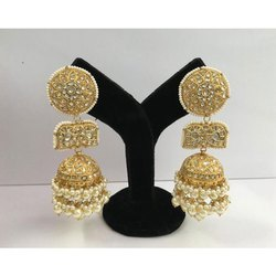 Gold Natural Uncut Diamond Polki Jhumka Earrings