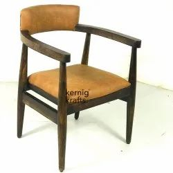 Wood Kernig Krafts Nordic Chair With Hand Rest and Upholstered High Back, For Cafe,Cafeteria & Restaurant, Size: 21x21x36 Cm