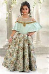Girls Floral Printed Designer Gown