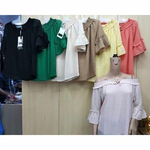 375b2f87ecd6 Poly Cotton Green   White Ladies Off Shoulder Top