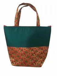Rubis Printed Raw Silk Ladies Handbag