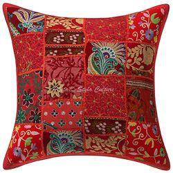 Khambadi Patchwork Cushion Cover 16x16 Floral Pillow Case